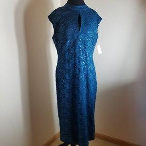 Roz & Ali Beautiful Teal Blue Floral Pattern Dress